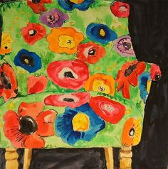 """Kate Lewis Art. """"Green Poppy Love Chair"""". Graphite,Watercolor, Gouache and Acrylic. Love this!"""