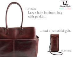 TL141232 Large lady business bag with pocket, NOW ON SALE!  #leatherbags #business #fashion