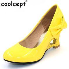 caecdf391ed9 Coolcept women high heel wedge shoes platform woman sexy dress footwear  fashion pumps P11860 hot sale