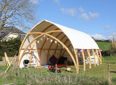 One of our recent bespoke #glulam projects. This Gothic Arch marquee offers a great space for festivals, weddings, parties etc. Pictured here set up for a child's birthday party.