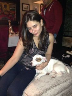 Kareena Kapoor Khan is clicked with her pet dog 'Elvis', during the Christmas party at her home! Elvis is Bebo and Saifu's pet and an integral part of their life for some time now!