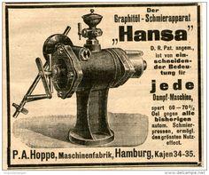Original-Werbung/ Anzeige 1903 : GRAPHITOEL- SCHMIERAPPARAT HANSA / HOPPE HAMBURG - ca  100 x 80 mm