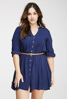 Could wear as long tunic with skinnies or leggings too - Pintucked Shirt Dress | FOREVER21 PLUS - 2000096765