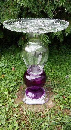 Handmade Re-purposed OOAK Glass Yard Art Bird Bath Plant Stand Butterfly Feeder #Handmade