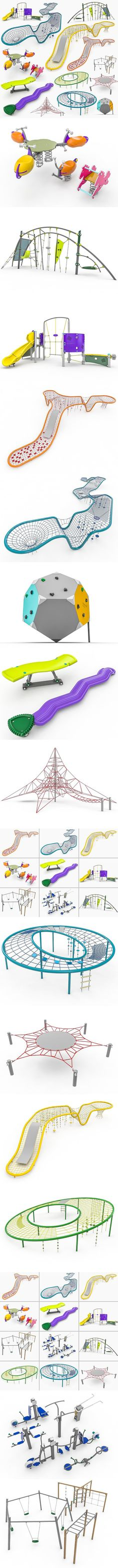 Kompan Playground Equipment Set. 3D Architecture
