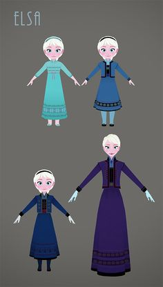 Elsa's clothes get darker and darker... until she lets go and returns to the bright happy blue she was before.