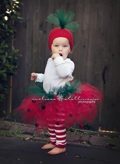 Strawberry Tutu  Costume (tutu, hat and legs). $44.00, via Etsy.: