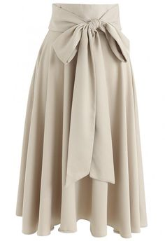 Shape of Elegance Bowknot A-Line Skirt in Cream - NEW ARRIVALS - Retro, Indie and Unique Fashion