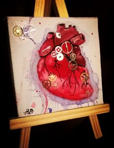 Heart painted on a mini canvas for Valentines Day 2016