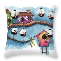 The New Neighbor Throw Pillow by Lucia Stewart