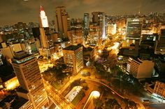 Anhangabau Valley at night, Downtown São Paulo City.