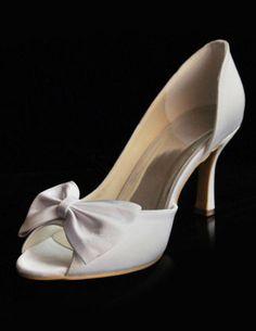 Großhandel White Satin Peep Toe Bow Dekoration Bridal Heels Schuhe Kaufen Hochzeitsschuhe Von Btochk, $56.54 Auf De.Dhgate.Com | Dhgate/SIZE 9