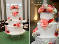 Beautiful white wedding cake by WOW Factor Cakes - photo by Erin Kranz Photography - Charlotte wedding photographer