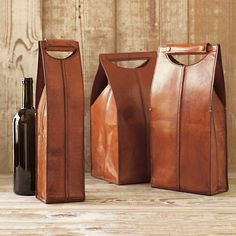 Leather Wine Bottle Carriers, Brown   Gump's