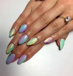 Nails colored rainbow Carribean pastel