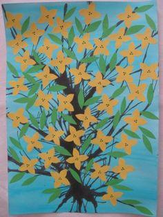 Zlatý déšť - malba, rozfoukávání tuše, koláž