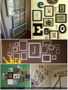 I am redoing a wall in my living room and really like the Initial and picture frame collage adea! Frame Wall Collage, Painting Frames, Frames On Wall, Frame Collages, Picture Collages, Framed Art, Home Garden Design, House Design, Cool Picture Frames