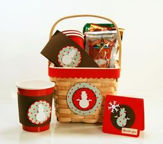 Cocoa gift basket - may be able to use recycled Christmas cards for basket motif