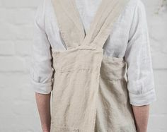 Linen pinafore apron / Square cross linen apron / Japanese style apron / Washed natural long linen apron / No ties apron