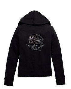 H-D Women's Rhinestone Skull Hoodie