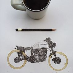 Carter Asmann Mixed media drawings using coffee stains On tumblr