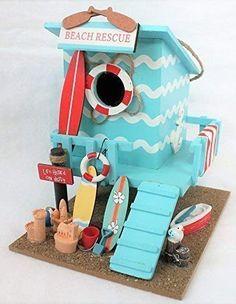 Bird Houses Painted, Bird Houses Diy, Fairy Garden Houses, Fairy Gardens, Doll Houses, Beach Huts Art, Beach Lifeguard, Sea Crafts, Birdhouses