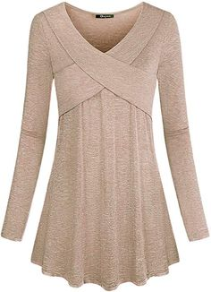 Quinee Pullover Sweaters for Women, Ladies Long Sleeve V Neck Casual Loose Flowy Tunic Tops Enough Room for Tummy and Hip Slim Fit Outdoor Performance T-Shirt Khaki XL Blouse Styles, Blouse Designs, Blouses For Women, Sweaters For Women, Hijab Stile, Blouse And Skirt, Basic Outfits, Mode Hijab, Aesthetic Clothes