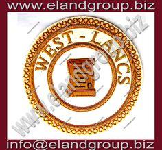 Masonic Apron Gold Bullion Badge- WEST - LANCS
