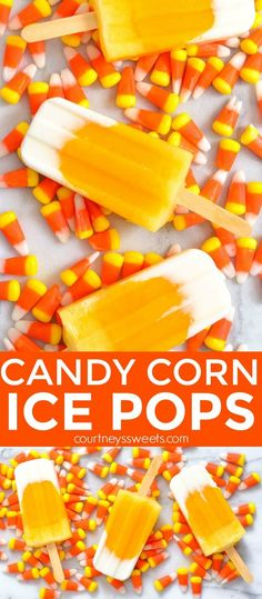 Our Candy Corn Popsicles on Mini Chef Mondays make a delicious fall treat, especially for Halloween entertaining. We make ice pops regularly and this is a combination of my daughter's favorites! We use fresh fruit and yogurt for the layers. Healthy whole Fall Dessert Recipes, Fall Recipes, Whole Food Recipes, Fruit Dessert, Frozen Desserts, Frozen Treats, Frozen Cookies, Frozen Cake, Frozen Fruit