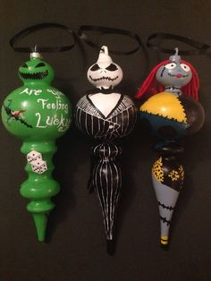 These ornaments are 3 inches by 9 inches.  This set includes Jack Skellington, Oogie Boogie, and Sally.  They are hand painted with acrylic paint and