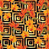 Sem costura padrão com orquídeas flores e Ave-do-paraíso