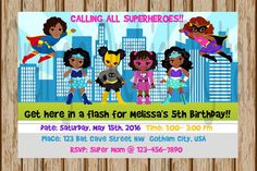"African American Girls Superhero Birthday Invitations- Sibling Superhero party- Sisters Superhero Invitation- DC Comics- 4""x6"" size- Digital by OrangeOrchidDigital on Etsy https://www.etsy.com/listing/273654482/african-american-girls-superhero"