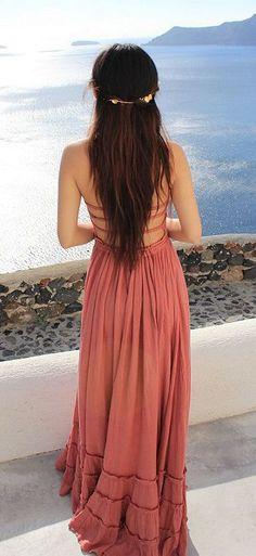 Strappy back maxi dress.