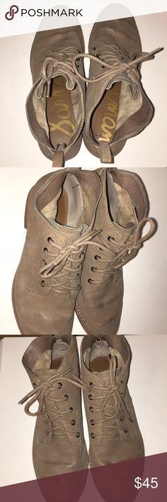short Sam Edelman beige/brown booties suede/leather light brown/Beige sam Edelman booties, lace up Sam Edelman Shoes Ankle Boots & Booties