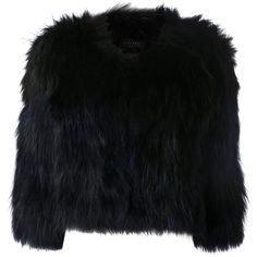 H Brand Raccoon Fur Boxy Jacket (£790) ❤ liked on Polyvore featuring outerwear, jackets, coats, fur, black, black jacket, box jacket and boxy jacket