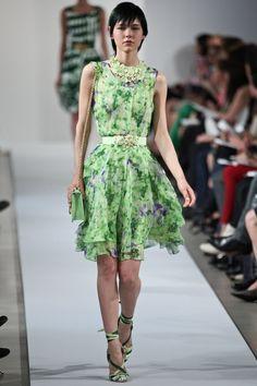 Pretty green floral dress.