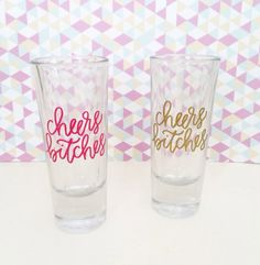cheers bitches 2 oz glass shot glass. Available in gold or berry pink vinyl lettering.