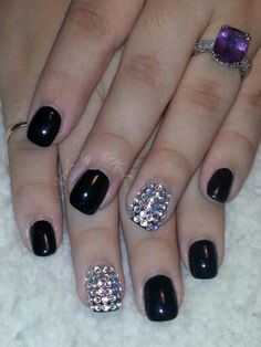 Simple but elegant... #black #short nails with w #blingedoutnails