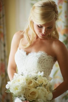 Classic white & ivory bridal bouquet is always stunning with a lace wedding gown!