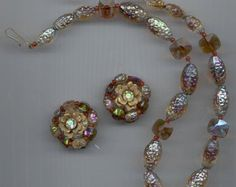 Lovely Hobe necklace and earring set - givre and rectangular glass beads in shades of brown