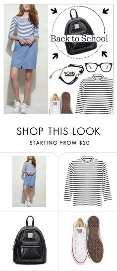 """Yoins27: Back To School"" by shambala-379 ❤ liked on Polyvore featuring Monki, Converse, BackToSchool, stripes, casualoutfit, denimskirt and yoins"