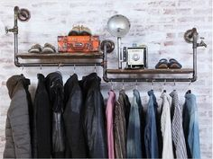 American Iron pipe wall hangers coat rack clothing rack shelf to do the old pipes retro clothing rack-in Dining Tables from Furniture on Aliexpress.com | Alibaba Group