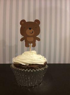 Teddy Bear Cupcake Toppers, teddy bear birthday party. teddy bear baby shower, teddy bear party, teddy bear decoration on Etsy, $10.00