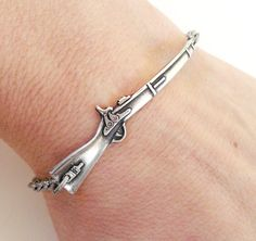Steampunk Rifle Bracelet Sterling Silver Ox Finish by BellaMantra