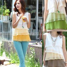 Korean Women's Fashion Multicolor Layer Sleeveless Chiffon Vest Blouse