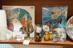 Vintage illustrations, brass metal cactus bookends, & Mid Century ceramic owl cup/figurine.