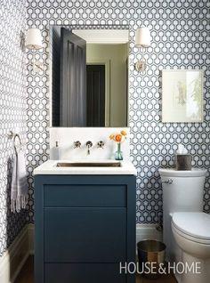 SUMMER HOUSE BLUES. Navy WallpaperGeometric WallpaperGraphic WallpaperSmall  Bathroom ...
