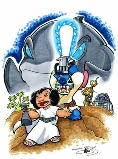 Stitch as Luke Skywalker Leio as Princess Leia Ganto as Darth Vader Plickly as C3PO Jumbba as R2D2