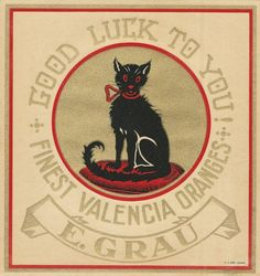 "RARE OLD ORIGINAL 1920 BLACK CAT ""GOOD LUCK TO YOU! BRAND"" SPANISH BOX LABEL ART"