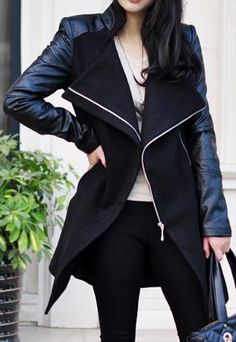 Black Contrast Leather Long Sleeve Zipper Trench Coat Fashion leather articles at 60 % wholesale discount prices Swagg, Autumn Winter Fashion, Winter Chic, Passion For Fashion, Coats For Women, Dress To Impress, Style Me, Hair Style, Street Style